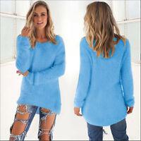 Plus Size Women's Long Fleece Loose Baggy Sweater Pullover Jumper Tops Blouse