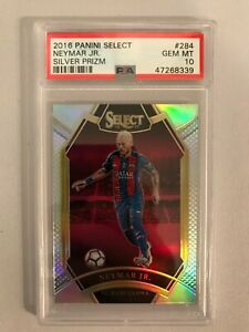 2016-17 Panini Select Neymar Jr. Silver Prizm Barcelona No.284 PSA 10 🔥 POP 1