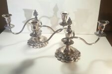 Early Pair of Ellis Barker English Silver on Copper 2 Lite Candelabra Signed