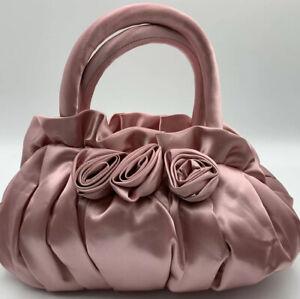 NWOT NARAYA Pink  Handbag w/ Flower Embellishments.