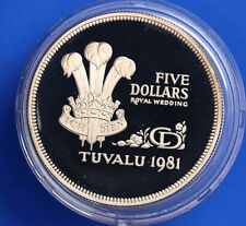 More details for 1981 royal wedding silver proof 28g - tuvalu five dollars $5   [22688]