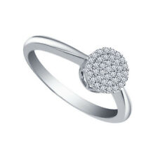 Ring 10K White Gold Over For Her 1ct Round Cut White Diamond Engagement Wedding