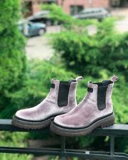 BRUNELLO CUCINELLI Women Ankle Velvet Boot Chunky Chelsea Light Gray Sz 37 US 7