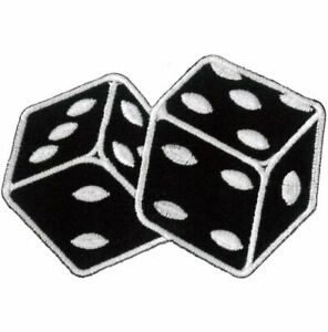 Dice Iron On / Sew On Patch Black & White Patches