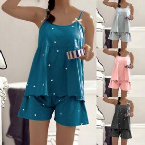 Womens Pyjama Set Cami Vest & Shorts Ladies Cami Pyjamas Camisole Slip Lingerie