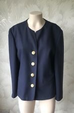 SIZE 12 TRUE VINTAGE 1980'S POWER BLAZER JACKET GOLD BUTTONS SHOULDER PADS