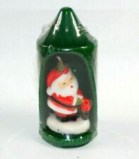 "Vintage Santa Candle 6 3/4"" Green Made in Hong Kong New Old Stock Ydc York Pa"