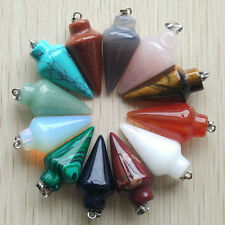 Wholesale 12pcs/lot Mixed Gemstone Stone Pendulum circular Cone Charms Pendants