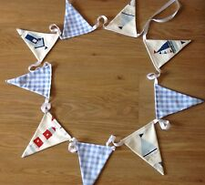 BOYS BUNTING NAUTICAL MARITIME FLAGS - BOATS, LIGHTHOUSE with BABY BLUE GINGHAM