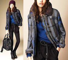 $1,295 Burberry Brit 10 12 40 44 Navy Check Wool Oversize Jacket Coat Women