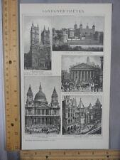 Rare Antique Original VTG Famous Buildings Of London Illustration Art Print