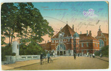 Alte Ansichtskarte Postkarte Oppeln Bahnhof 1916 farbig Feldpost