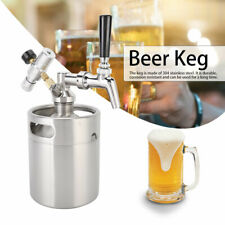 Edelstahl Fass Growler Keg Hause brauen Mini Bierfass Flasche+Zapfhahn Manometer