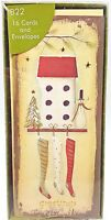Christmas Rustic Holiday Cards Hanging Stockings Snowman 10 count Eco Recycled