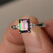 Ring Size J White Gold Mystic Topaz & Diamond Emerald Cut Cluster Silver
