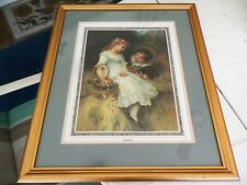 "VINTAGE PEARS PRINT ""SWEETHEARTS"" 27.5""X23.5"" GOLDTONE FRAME GLASS FRONT"