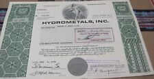 1976-77 Hydrometals, Inc Old Canceled Stock Certificate green