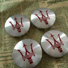 4 x New Genuine Maserati Ghibli Centre Caps Wheel Badge Chrome Red 670025694