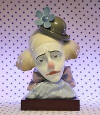 RARE Lladro PENSIVE CLOWN Figurine Head on Wood Base Bowler Hat RETIRED #5130