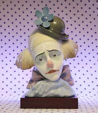 RARE Lladro PENSIVE CLOWN Figurine Head on Wood Base Bowler Hat RETIRED #5130