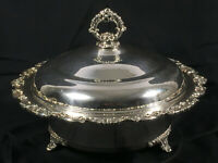 VTG Ornate Silverplate Footed Casserole Dish W/ Lid, Crystal Bowl Insert Server