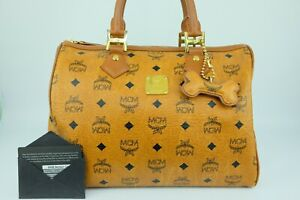 100% Authentic MCM Cognac Visetos Boston Hand Bag + Warranty Cards + Dust Bag