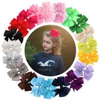 "40 Pcs Baby Girls Kids 3.5"" Grosgrain Ribbon Boutique Hair Bows Alligator Clips"