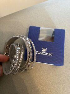New In Box Swarovski Grey Crystal Snap Bracelet 36cm