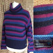 IRELAND'S EYE Purple Blue Stripe WOOL SILK Jumper Sz L 14 CHUNKY POLO NECK B16