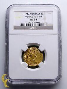 1752-1762 Italia 1 Zecchino Ducat Oro Moneda Venice FR-1405 Graded Por NGC AU-58