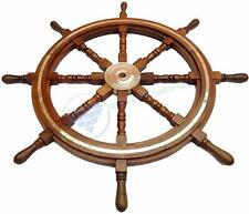 "36"" Nautical Marine Wooden Steering Ship Wheel Brass Ring Pirate Captain Wheel"