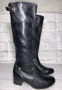 JANE DEBSTER Black Leather Knee High Boots US 38 (7) #20892