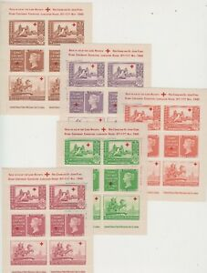 Stamp Centenary Exhibition 1940 London set of 5 mini sheets Red Cross charity