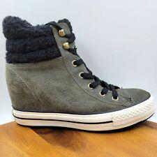 Converse Chuck Taylor Green Fleece Lined Hidden Heel Wedge Sneaker Shoe Womens 9