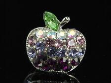 2 pcs Stunning violet purple gradual crystal Rhinestone small apple brooch D34