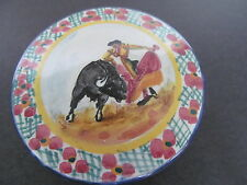 """Hand Painted Porcelain Trinket Box Peru Bull Fighter 3 1/2"""" Very Pretty see Pic"""