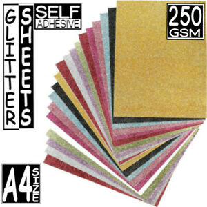 20pcs Glitter A4 Size 250gsm Art + Craft Card Shiney Glitter Paper Sheets UK