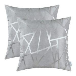 2Pcs Silver Grey Cushion Covers Pillows Shells Triangles Geometric Decor 45x45cm