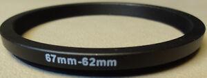 67mm to 62mm Step Down Lens Filter Ring Metal DSLR SLR Digital Camera Adapter