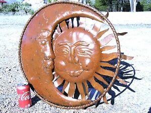 Large Metal Sun Face Sign, recycled Junk Iron