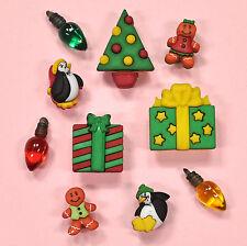 Botones Galore vacaciones Bliss 4778-Vintage Nieve Navidad Navidad Vestido para arriba