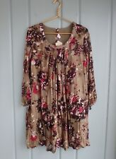 Yo Baby Womens Maternity Large 12 14 Brown Floral Tunic Shift Dress 100% Cotton