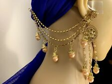 Indian Bollywood Bahubali Earrings With Kaan Chain Bridal Fashion Jewelry