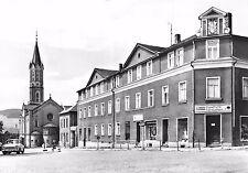 AK Eibenstock Kr. Aue Blick zur Stadtkirche Rundfunk Fernsehen Geschäft Auto