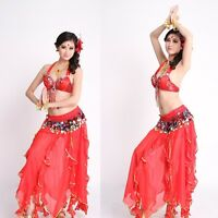 New Performance Belly Dance Costume Outfit Set Bra Top Belt Hip Scarf Skirts