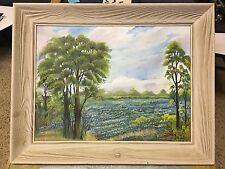 Vintage 1959 Texas Bluebonnet Painting Signed Mm Esther