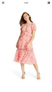Love Shack Fancy for Target Fleur Peach Floral Dress Brand New