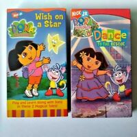 Nick Jr Dora The Explorer VHS Video Set Wish On A Star and Dance To The Rescue