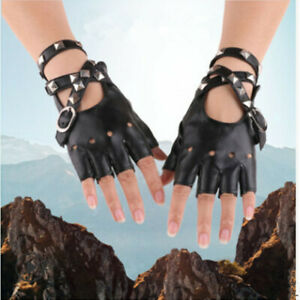 1 Pair Women Half Finger Faux Leather Gloves Punk Rivets Fingerless Mittens