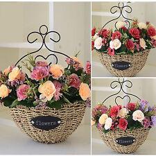 Wall mounted plant basket planter pot metal wicker flower vase bonsai hanging